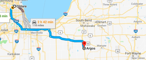 Chicago to Argos Map